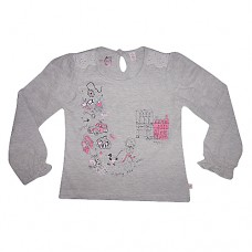 Sugar Pink Long Sleeve Grey T-shirt